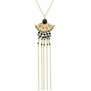 Lucky brand gold beaded fringe necklace